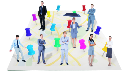 business people spread out with pins