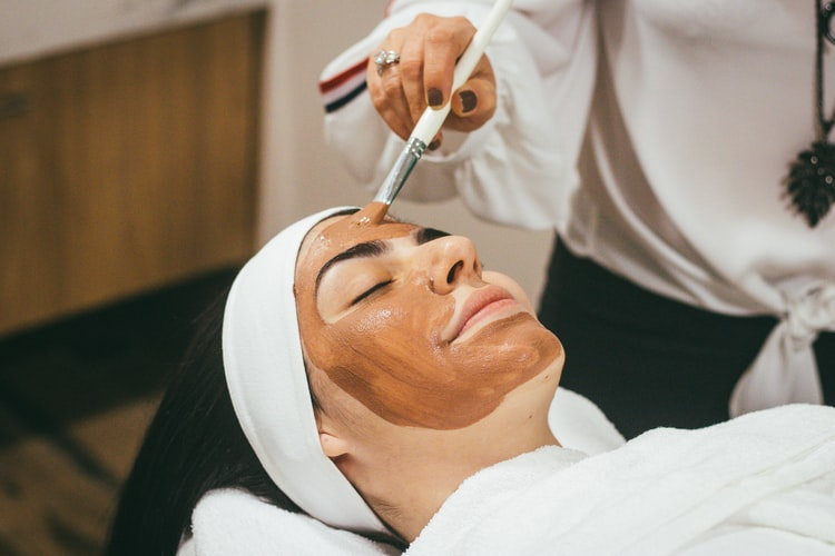 woman having a face mask